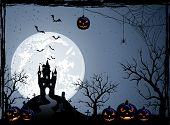 stock photo of castle  - Halloween night background with castle cemetery and pumpkins illustration - JPG
