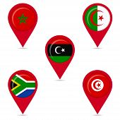 stock photo of libya  - Map pin icons of national flags - JPG