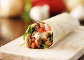 stock photo of sandwich wrap  - chicken wrap in tortilla with sauce and mesclun mix - JPG
