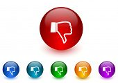 image of dislike  - dislike internet icons colorful set - JPG