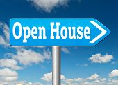 stock photo of model home  - Open house icon visit a model house before you buy or rent a new home or other real estate property - JPG