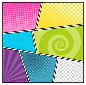 stock photo of sketch book  - Comics pop art style blank layout template with clouds beams and dots pattern background vector illustration - JPG