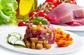 foto of tartar  - tuna tartar with fresh zucchini and pepper - JPG