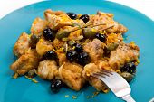 stock photo of swordfish  - a swordfish stew with caper and olives - JPG