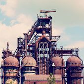 image of blast-furnace  - building a blast furnace at the steel industry on a background of blue sky - JPG