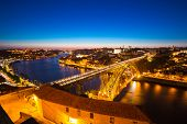 image of dom  - Dom Luiz bridge in Porto Portugal at dusk - JPG