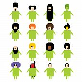pic of racial diversity  - Original Vector people icon set of diverse ethnicity different haircuts - JPG