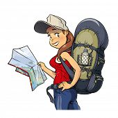 stock photo of knapsack  - Tourist girl with rucksack and map - JPG