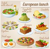 foto of pasta  - Fresh salad with olive oil   spaghetti with pesto omelette with vegetables - JPG