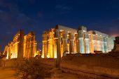 stock photo of building relief  - Illuminated Luxor Temple - JPG