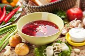 pic of pampushka  - Beetroot and Cabbage Soup with Bread - JPG