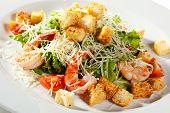 stock photo of caesar salad  - Caesar Salad with Seafood - JPG
