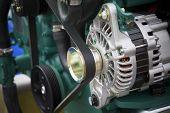 foto of generator  - a new boat motor generator close detail  - JPG