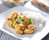 stock photo of curry chicken  - plate of indian butter chicken curry with basmati rice - JPG