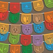 image of mexican  - traditional mexican paper bunting decoration with clipping path and transparencies - JPG