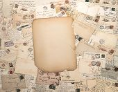 picture of nostalgic  - nostalgic vintage background with old handwritten post cards and grungy paper sheet - JPG