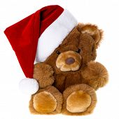 foto of teddy  - cute vintage teddy bear with santa hat - JPG