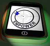 foto of empower  - Empower Smartphone Displaying Provide Tools And Encouragement - JPG
