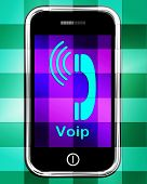 stock photo of voip  - Voip On Phone Displaying Voice Over Internet Protocol Or Ip Telephony - JPG