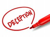 picture of cheater  - the word deception with a red marker over white - JPG