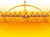 foto of dussehra  - vector illustration of Ravana burning on fire in Happy Dussehra - JPG