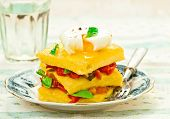 image of posh  - polenta with vegetables and poshed egg close up - JPG