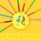 stock photo of navratri  - vector illustration of man and woman dancing on Dandiya night - JPG