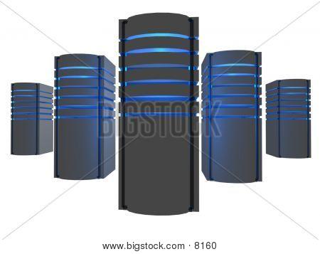 3D Server Farm In A Dark