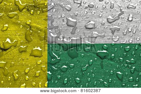 flag of Zielona Gora with rain drops