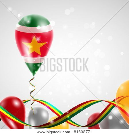 Flag of Suriname on balloon