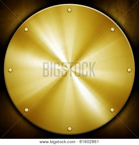 golden knob on metal plate