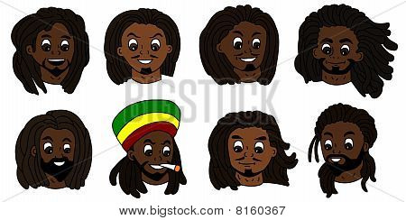 Rastafarian men faces