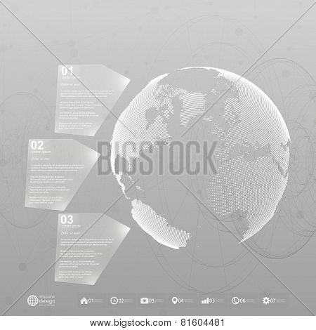 World globe. Infographic template for business design, abstract background vector