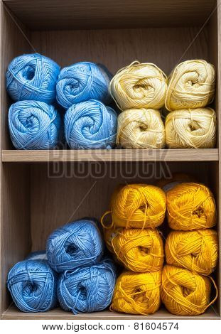 balls of knitting wool background