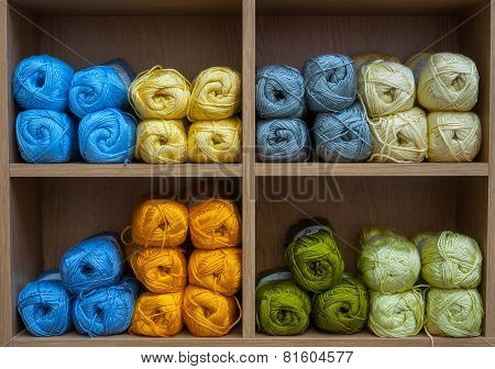 knitting wool balls background