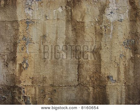 Worn Painted Brown Wall With Paint Blathering And Leak Drip