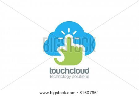 Hand Touch Cloud computing Logo design vector template. Digital Web Technology Storage Logotype concept icon.