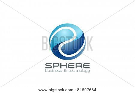 Logo Sphere Abstract Business Technology Infinity loop design vector template. Digital Creative Corporate infinite looped Logotype concept icon.