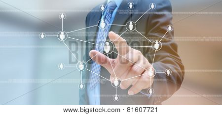 Hand Of Businessman And Social Network On Tech