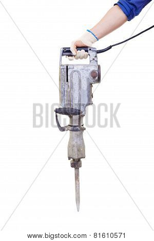 Pneumatic Hammer Drill Equipment Isolated On White