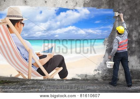 Worker With Paint Brushes Drawing Business Travel Concept Ad On The Wall