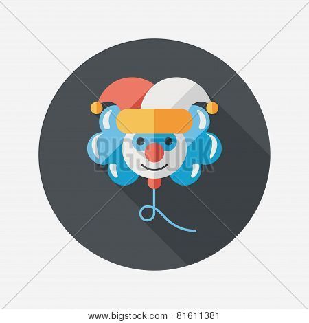Birthday Ballon Clown Flat Icon With Long Shadow,eps10