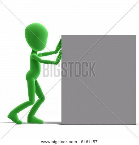 symbolic 3d male toon character push a big box