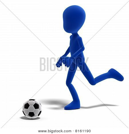 symbolic 3d male toon character plays soccer or