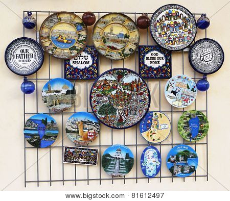 Israeli Souvenirs on display in Haifa, Israel
