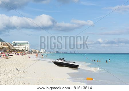CANCUN - JANUARY 18: Jet ski on the beautiful beach on 18 January 2015 in Cancun, Mexico. This is one of the best beaches in the Mexico.