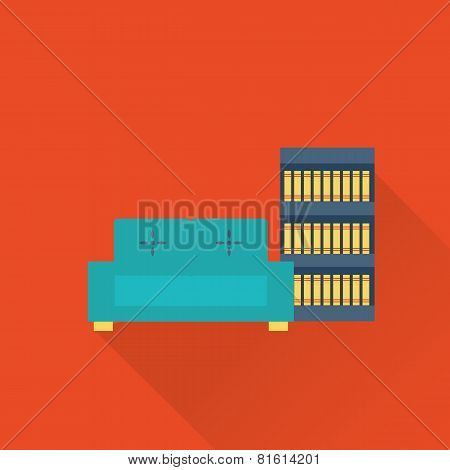 vector flat library sofa and book case icon