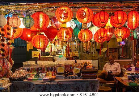 Chinatown Vendor Selling Lanterns And Souvenirs