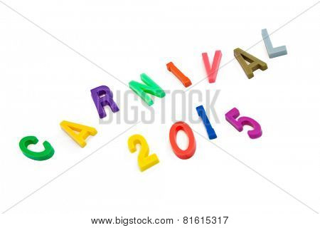 Colorful Carnival 2015 text in capital letters on white background