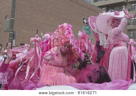 Hot Pink Waves In The Mardi Gras Parade